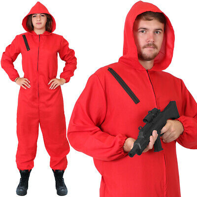 Adults Red Jumpsuit With Hood Tv Heist Halloween Costume Cosplay Fancy Dress