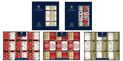 Tom Smith Luxury Christmas Crackers Family Premium 6/12 Pack White Gold Red