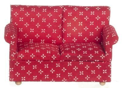 Dolls House Modern Red 2 Seater Sofa Miniature 1:12 Scale Living Room Furniture