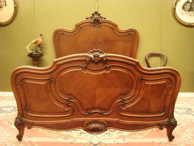 Fine Antique French Louis Style Walnut Double Bed Frame. Slat Base ~  $300 Extra