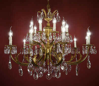 16 Light French Crystal Brass Chandelier Old Ceiling Lamp Antique Fixtures