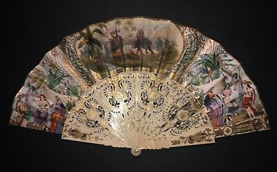 Rare Antique Victorian French Figural Scene Elephants Indians Gold Gilt Fan