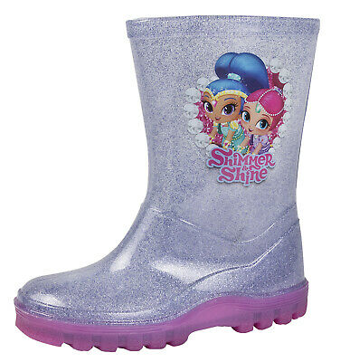 Girls Shimmer and Shine Glitter Wellington Boots Kids Rain Snow Shoes Wellies