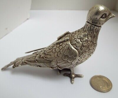 Stunning Rare English Antique 1901 Solid Sterling Silver Novelty Dove Pepper Pot