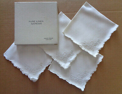 VINTAGE Lot of 4 Pure Linen Napkins HAND MADE EMBROIDERY White