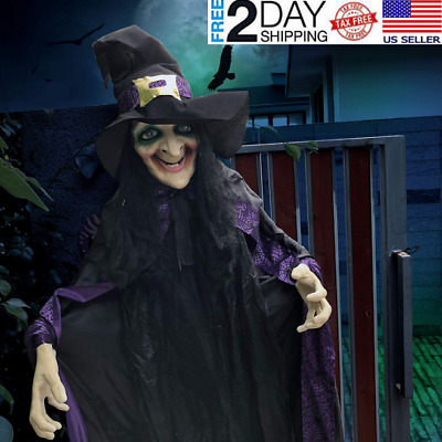 Life Size Animated Witch with LED Eyes and Spooky Sounds Halloween Decorations
