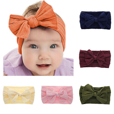 Band Nylon Turban Baby Kids Girls Toddler Bow Headband Knotted Hair Accessories