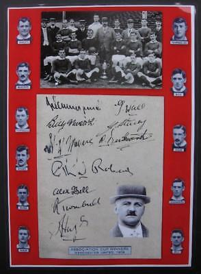 ⚽ MANCHESTER UNITED 1909 FA CUP FINAL Team SIGNED Football Club Art PRINT UNIQUE