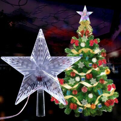 LED Light Up Christmas Tree Topper Star Tree Ornaments Party Home Decor New Year