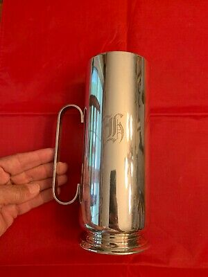 "Oneida Silversmiths Silver Plate Water Jug Pitcher with Ice Catcher - ""K"" Monogr"