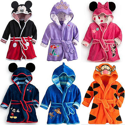 Kid Boys Girls Mickey Minnie Mouse Pajamas Hooded Bathrobe Dressing Gown Warmer