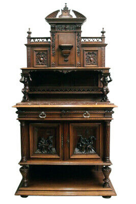 Terrific Antique Jester Server, Marble Top, Walnut, 19Th Century