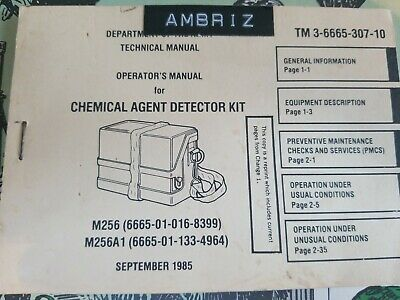 Book US Army Training Field M256 Chemical Agent Kit TM 3-6665-307
