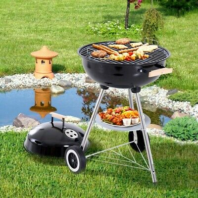 Portable Kettle Charcoal BBQ Grill Barbecue Wheels Smoker Grate Garden Outdoor