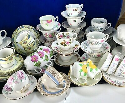 Vintage Afternoon Tea or Cabinet Cups, Saucers, Plates.  Choose Duo or Trio