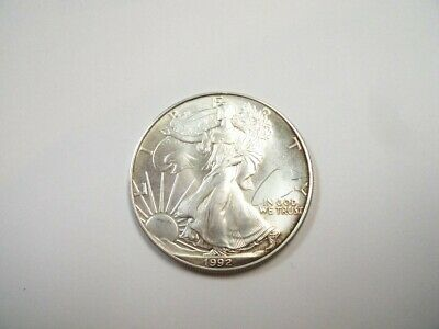 1992 Silver Eagle One Dollar Coin One Ounce Walking Liberty Uncirculated. NR