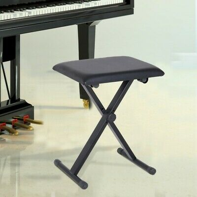 Keyboard Piano Stool Padded Seat Portable Adjustable XFrame Bench Foldable Stand