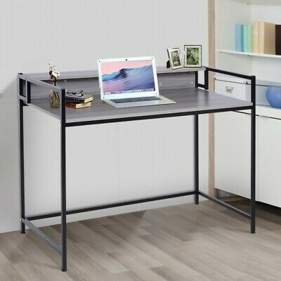 Home Office industrial Computer Desk Retro Workstation Writing Table Wood PC