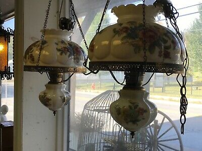 Pair Vintage Gone With The Wind GWTW Hanging Swag Hurricane Chandelier Lamp