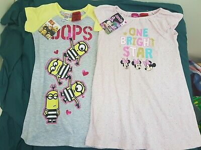 girls size 4 minion & disney minnie mouse pyjama night gown dresses  - new nwt