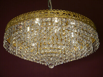Large Brass Lead Crystal Ceiling Lamp Light Chandelier Lustre Used Plafoniere