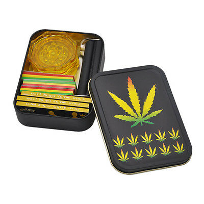 9 Pieces-1X Tobacco Box + 3 X Rolling Papers+ 3X Filter Tips+1 Rolling Machine