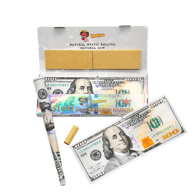 2 Packs $100 Dollar Bill 110MM Cigarette Rolling Papers with Filter Tips Paper