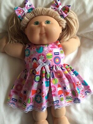 "DOLL  CLOTHES  TO Fit  CABBAGE  PATCH  16"" DOLLS ~ Pink : Christmas  Print"