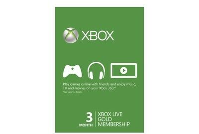 3 Month XboxLive Gold Membership Xbox One/360 CODE fast Delivery Read Descripton