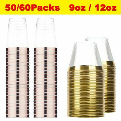 50/60 Pack Disposable Rose Gold Rim Party Wine Clear Hard Plastic Cups Tumblers