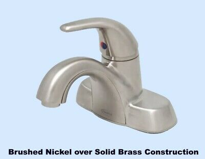 Single Handle Bathroom Faucet  Brushed Nickel over Solid Brass Construction