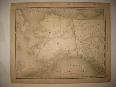 Fine Superb Antique 1880 Alaska Map Aleutian Islands Mountains Inuit Villages Nr