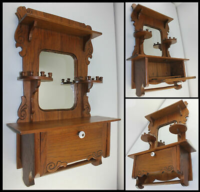 Antique Carved Oak Wall Medicine Cabinet w Candle Shelves Door Mirror &Towel Bar