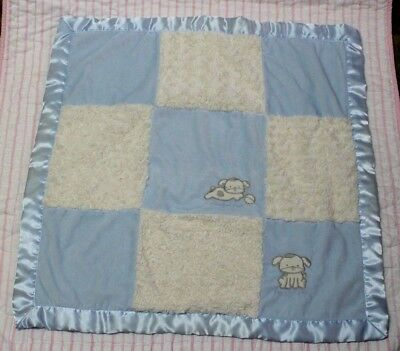 Kyle & Deena blue and white playful pup my best pal baby blanket satin velour