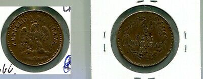 1876  Mexico 1 Centavos  Copper Coin Au 6666M