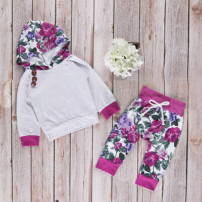 2pcs Nowborn Baby Girls Floral Print Long Sleeve Hoodies Pants Kids Outfit Sets