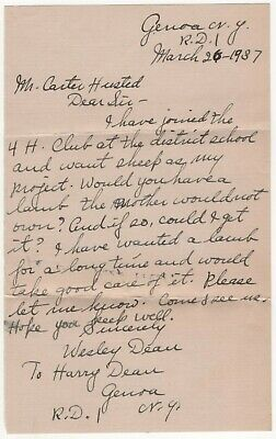 Genoa NY Handwritten Letter Lamb for 4H Club Wesley Dean to Carter Husted 1937