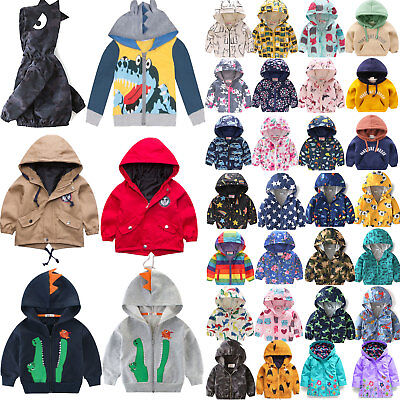 Kids Boys Girls Hooded Coat Jacket Printed Zipper Hoodies Winter Warmer Outwear