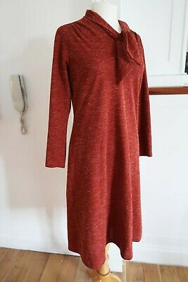 Vintage Rust Red Orange Dress M 50s 60s 70s Pussy Bow Mad Men Peggy Joan