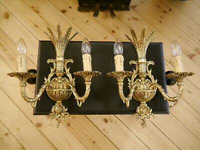 shiny brass spanish wall lamps pair sconces old appliques 2 lights home decor