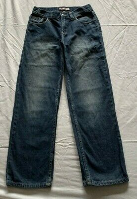 Boys size 12 WORLD INDUSTRIES blue faded denim jeans Adjust waist