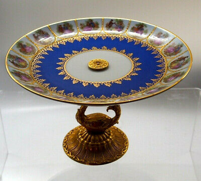 Stunning Europian - Porcelain Cake Plate with Gold Metal Stand