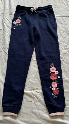 Girls size 10 Navy Blue track pants dacks with flowers jogger Target  NEW