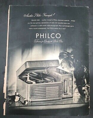 "1946? 20 x 14/"" Vintage 4-fold Philco Radio /& Phonograph Advertising Poster"