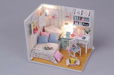 DIY Doll House Furniture Kits Wooden Kids Toy Miniature Dollhouse w/ LEDs and Du