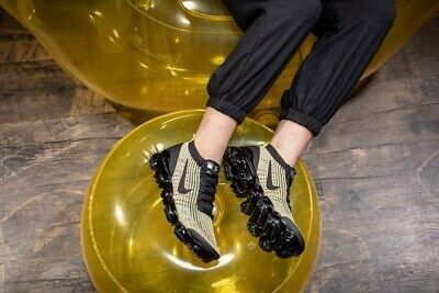Nike Air VaporMax Flyknit 3.0 2019 Mens Running Shoes Sneakers Trainers   Gold