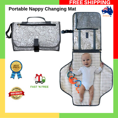 Portable Baby Nappy Travel Changing Mat Pad With Clutch Organizer Waterproof AU
