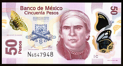 Mexico 50 Pesos 2012 Polymer Note P. 123A Serie C UNC