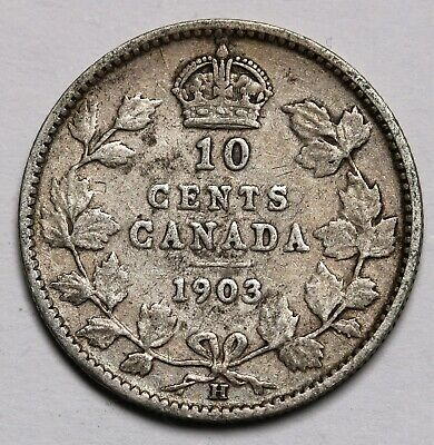 1903 H Canada 10 Cents Sterling Silver Coin Edward VII KM# 10