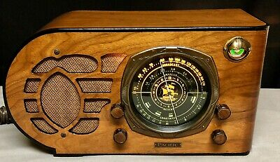 1936 Pacific Streamliner Bullet TUNING EYE wood vacuum tube ART DECO radio